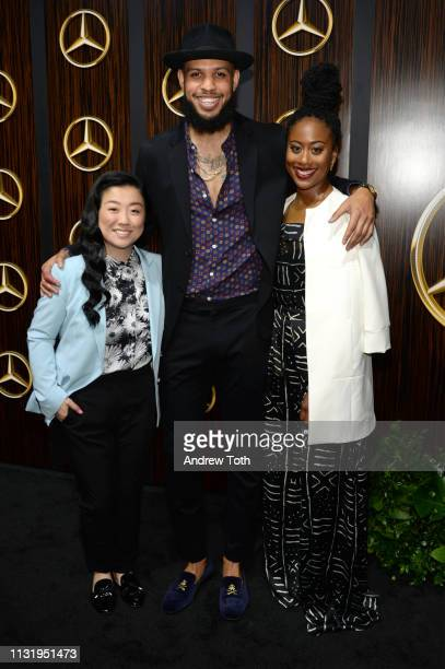 Sherry Cola Sarunas Jackson and Zuri Adele attend the MercedesBenz USA's Oscars viewing party at Four Seasons Hotel Los Angeles at Beverly Hills on...