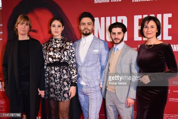 Sherry Hormann, Almila Bagriacik, Aram Arami, Rauand Taleb and Sandra Maischberger attend the 'Nur eine Frau' premiere at Kino International movie...