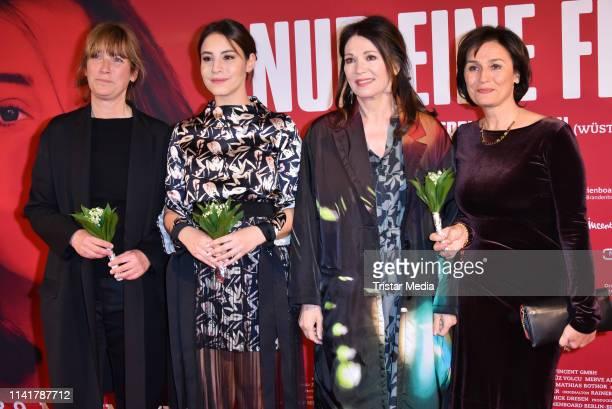 Sherry Hormann, Almila Bagriacik, Iris Berben and Sandra Maischberger attend the 'Nur eine Frau' premiere at Kino International movie theater on May...