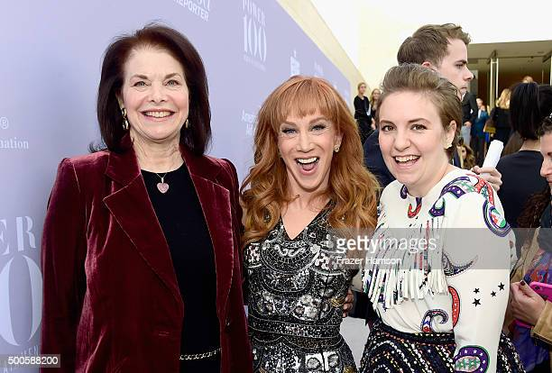 Sherry Lansing comedian Kathy Griffin and actress Lena Dunham attend the 24th annual Women in Entertainment Breakfast hosted by The Hollywood...