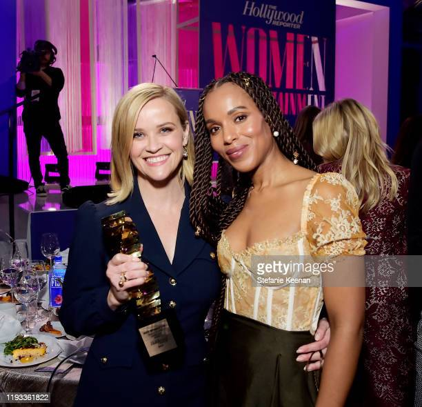 Sherry Lansing Leadership Award honoree Reese Witherspoon and actor-producer Kerry Washington attend The Hollywood Reporter's Power 100 Women in...