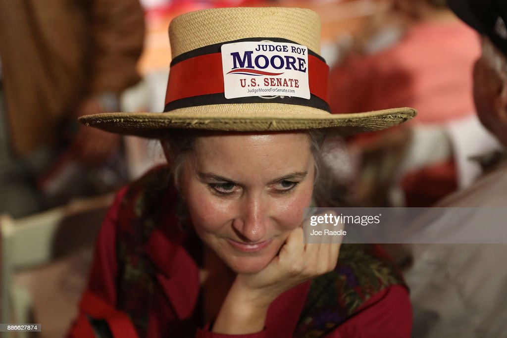Sherry Martin attends a campaign rally for Republican Senatorial candidate Roy Moore at Oak Hollow Farm on December 5, 2017 in Fairhope, Alabama. Mr. Moore is facing off against Democrat Doug Jones in next week's special election for the U.S. Senate.