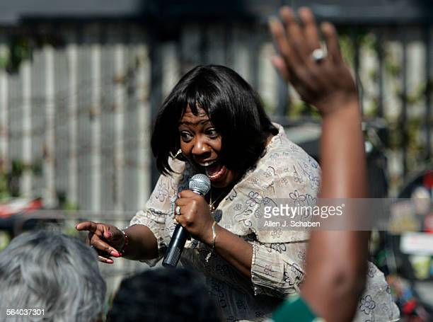 Sherry Pruitt lead singer of the Terraplane Project interacts with the crowd at a concert celebrating black history month at Central Avenue Jazz Park...