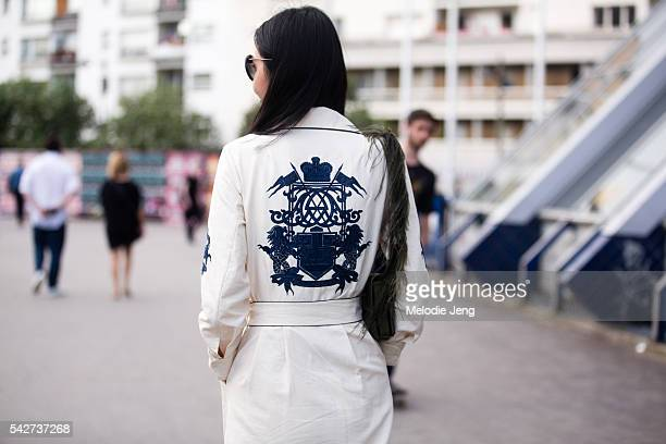 Sherry Shen after the Dries Van Noten show during Paris Men's Fashion Week SS17 on June 23 2016 in Paris France