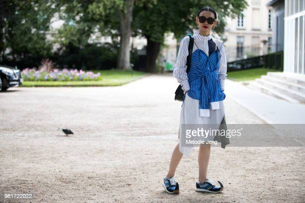 Sherry Shen in Loewe shoes during Paris Fashion Week Mens S/S 2019 on June 22 2018 in Paris France