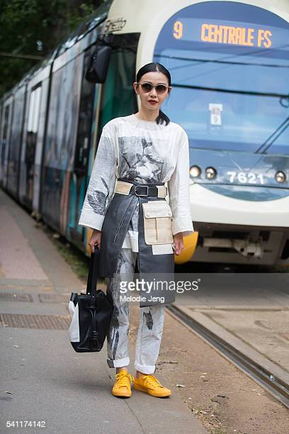 Sherry Shen is seen during the Milan Men's Fashion Week Spring/Summer 2017 on June 19 2016 in Milan Italy