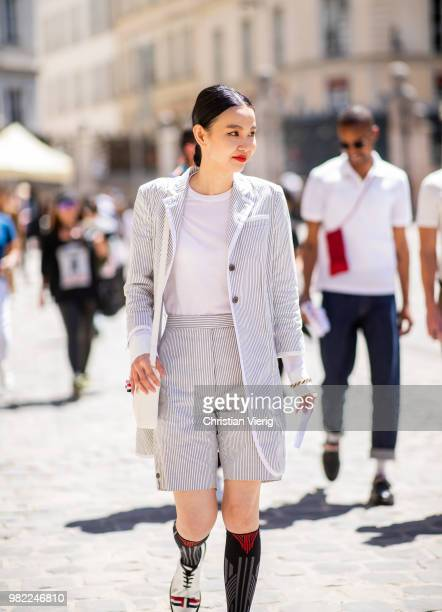 Sherry Shen is seen outside Thom Browne on day five of Paris Fashion Week Menswear SS19 on June 23 2018 in Paris France