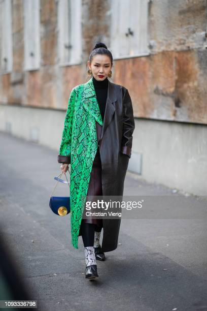 Sherry Shen is seen wearing two tone coat outside Marni during Milan Menswear Fashion Week Autumn/Winter 2019/20 on January 12 2019 in Milan Italy