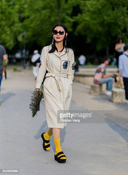 Sherry Shen outside Dries van Noten during the Paris Fashion Week Menswear Spring/Summer 2017 on June 23 2016 in Paris France