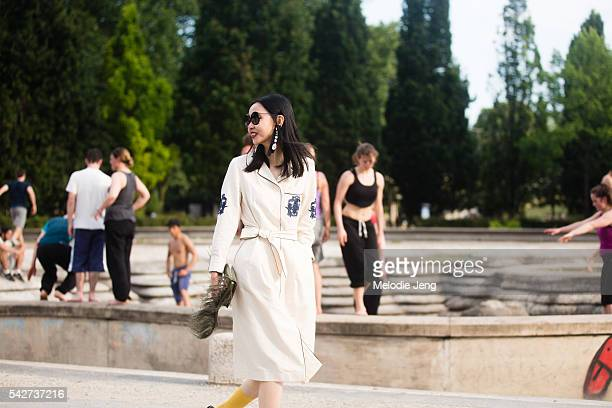 Sherry Shen outside the Dries Van Noten show during Paris Men's Fashion Week SS17 on June 23 2016 in Paris France