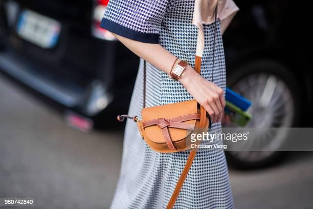 Sherry Shen wearing Loewe bag dress with bra is seen outside Dries Van Noten on day three of Paris Fashion Week Menswear SS19 on June 21 2018 in...