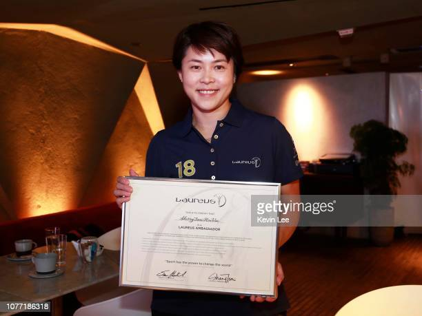 Sherry Tsai Hiu Wai poses with the certificate before the Laureus Hong Kong Ambassador Announcement ceremony at Mercedes Me Store on December 04 2018...
