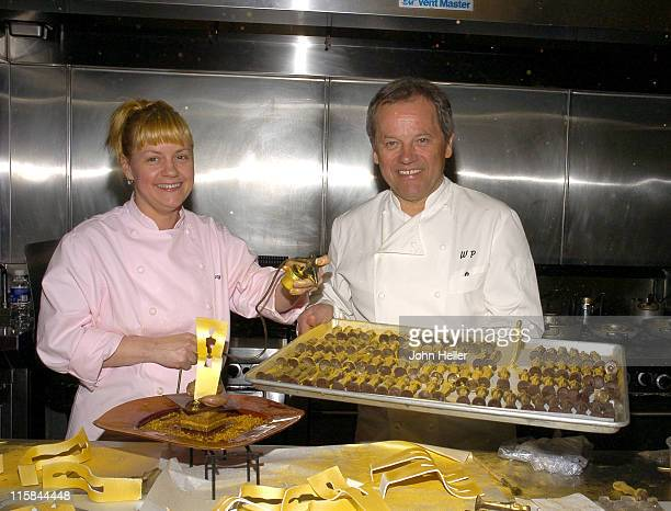 Sherry Yard executive pastry chef of Wolfgang Puck Worldwide and twotime James Beard Awardwinning pastry chef and Wolfgang Puck show off the...