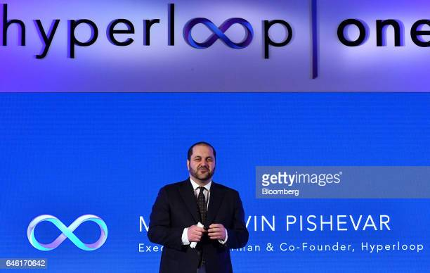 Shervin Pishevar cofounder and executive chairman of Hyperloop Technologies Inc known as Hyperloop One speaks during an event in New Delhi India on...