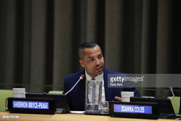 Sherwin BrycePease attends International Women's Day The Role of Media To Empower Women Panel Discussion at the United Nations on March 8 2018 in New...