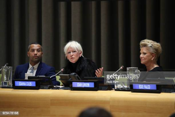 Sherwin BrycePease Joanna Coles Joan Lunden attend International Women's Day The Role of Media To Empower Women Panel Discussion at the United...