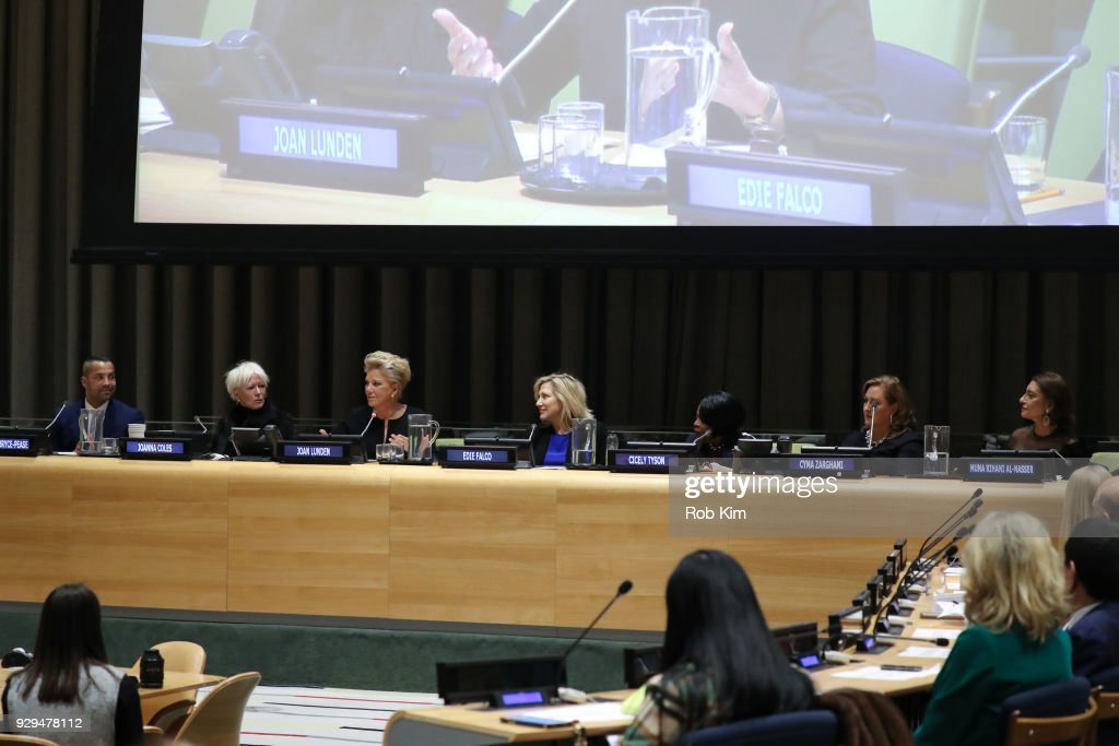 Sherwin Bryce-Pease, Joanna Coles, Joan Lunden, Edie Falco, Cicely Tyson, Cyma Zarghami and Muna Rihani Al-Nasser attend International Women's Day The Role of Media To Empower Women Panel Discussion at the United Nations on March 8, 2018 in New York City.