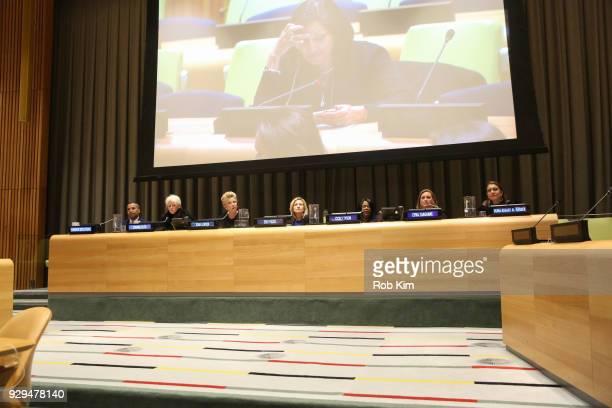 Sherwin BrycePease Joanna Coles Joan Lunden Edie Falco Cicely Tyson Cyma Zarghami and Muna Rihani AlNasser attend International Women's Day The Role...