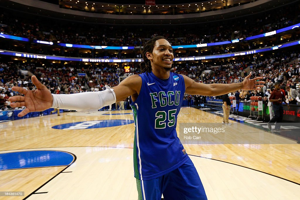 Sherwood Brown #25 of the Florida Gulf Coast Eagles celebrates after they won 78-68 against the Georgetown Hoyas during the second round of the 2013 NCAA Men's Basketball Tournament at Wells Fargo Center on March 22, 2013 in Philadelphia, Pennsylvania.