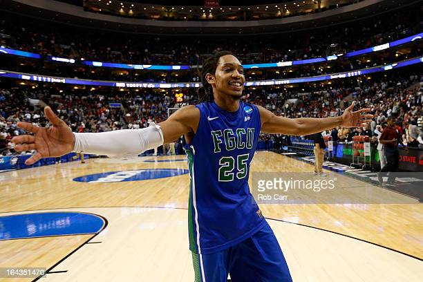 Sherwood Brown of the Florida Gulf Coast Eagles celebrates after they won 78-68 against the Georgetown Hoyas during the second round of the 2013 NCAA...