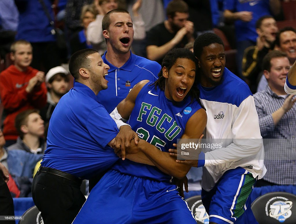 Sherwood Brown #25 of the Florida Gulf Coast Eagles celebrates with teammates on the bench in the second half while taking on the San Diego State Aztecs during the third round of the 2013 NCAA Men's Basketball Tournament at Wells Fargo Center on March 24, 2013 in Philadelphia, Pennsylvania.