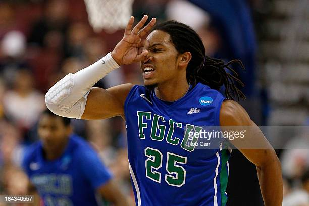Sherwood Brown of the Florida Gulf Coast Eagles reacts after he made a 3point basket in the first half against the Georgetown Hoyas during the second...