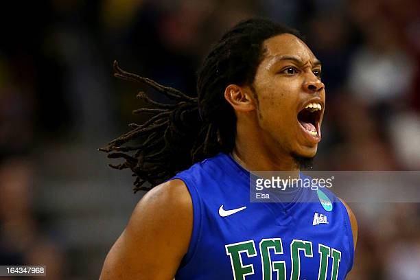 Sherwood Brown of the Florida Gulf Coast Eagles reacts in the second half against the Georgetown Hoyas\ during the second round of the 2013 NCAA...