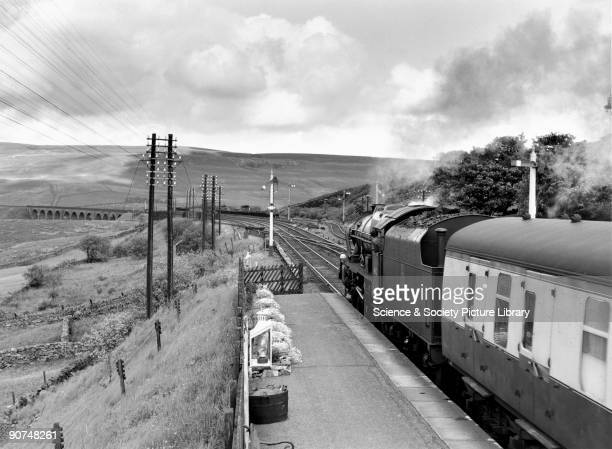 �Sherwood Forester' 460 steam locomotive No 46112 at Garsdale Station Cumbria This Royal Scot locomotive is seen here on the Settle to Carlisle line...