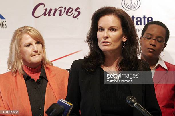Sheryl Cates Denise Brown and Angela Smith Cobb during The National Domestic Violence Hotline Presents The Decade For Change Press Conference at LA...