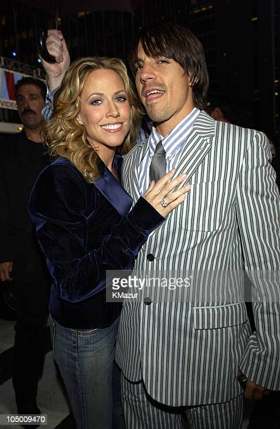 Sheryl Crow and Anthony Kiedis during 2002 MTV Video Music Awards Arrivals at Radio City Music Hall in New York City New York United States
