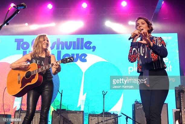 Sheryl Crow and Brandi Carlile perform at Marathon Music Works on March 09, 2020 in Nashville, Tennessee.