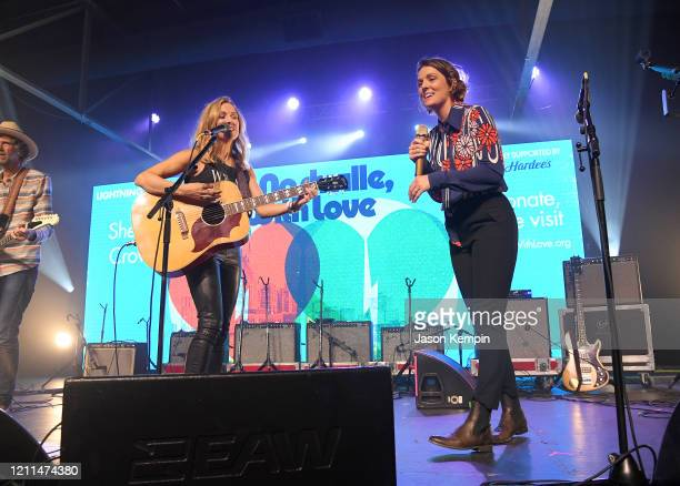 Sheryl Crow and Brandi Carlile perform during To Nashville With Love A Concert Benefiting Local Tornado Relief Efforts at Marathon Music Works on...
