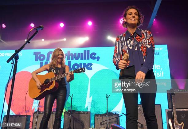 Sheryl Crow and Brandi Carlile perform during To Nashville, With Love A Concert Benefiting Local Tornado Relief Efforts at Marathon Music Works on...