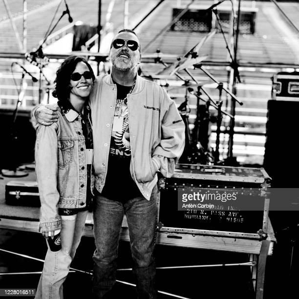 Sheryl Crow and Gregg Allman are photographed during preparations for the first concert for the Rock and Roll Hall of Fame Museum on September 2 1995...