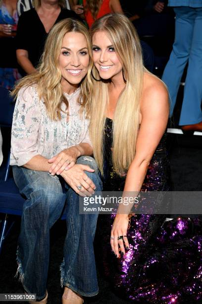 Sheryl Crow and Lindsay Ell attend the 2019 CMT Music Awards Backstage Audience at Bridgestone Arena on June 05 2019 in Nashville Tennessee