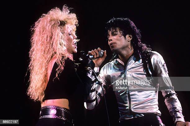 Sheryl Crow and Michael Jackson perform during the BAD Tour circa 1988