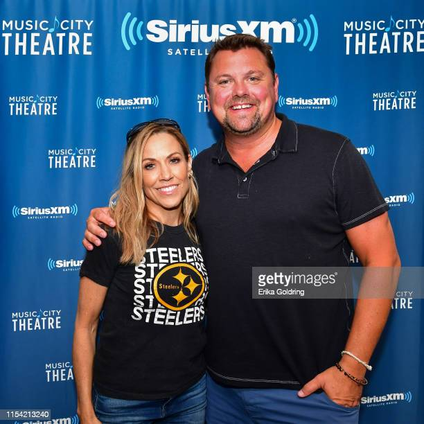 Sheryl Crow and SiriusXM Host Storme Warren arrive at SiriusXM Nashville Studios at Bridgestone Arena on June 6 2019 in Nashville Tennessee