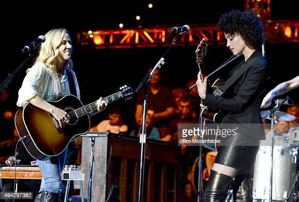 Sheryl Crow and St Vincent perform during the 29th Annual Bridge School Benefit at Shoreline Amphitheatre on October 25 2015 in Mountain View...