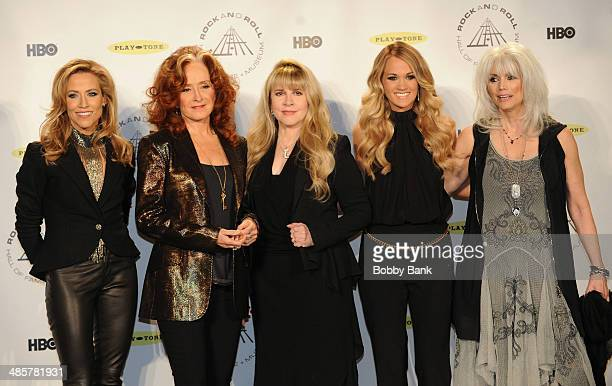 Sheryl Crow Bonnie Raitt Stevie Nicks Carrie Underwood and Emmylou Harris attends the 29th Annual Rock And Roll Hall Of Fame Induction Ceremony at...