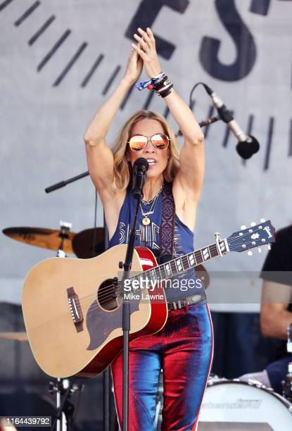Sheryl Crow performs during day one of the 2019 Newport Folk Festival at Fort Adams State Park on July 26 2019 in Newport Rhode Island