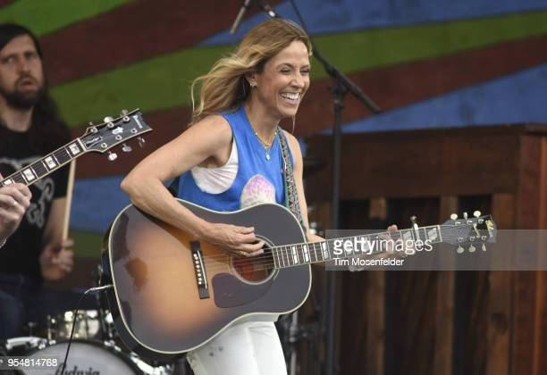 Sheryl Crow performs during the 2018 New Orleans Jazz Heritage Festival at Fair Grounds Race Course on May 4 2018 in New Orleans Louisiana