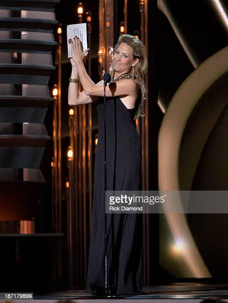Sheryl Crow speaks onstage during the 47th annual CMA Awards at the Bridgestone Arena on November 6 2013 in Nashville Tennessee