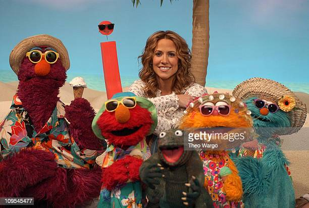 Sheryl Crow taping segment of 'Sesame Street' during While NYC got hit with a winter storm Sheryl Crow 'Soaks Up the Sun' with some of her Muppet...