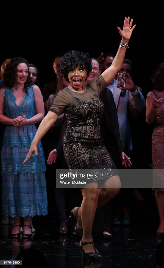 Sheryl Lee Ralph during the curtain call bows for the Actors Fund's 15th Anniversary Reunion Concert of 'Thoroughly Modern Millie' on February 18, 2018 at the Minskoff Theatre in New York City.