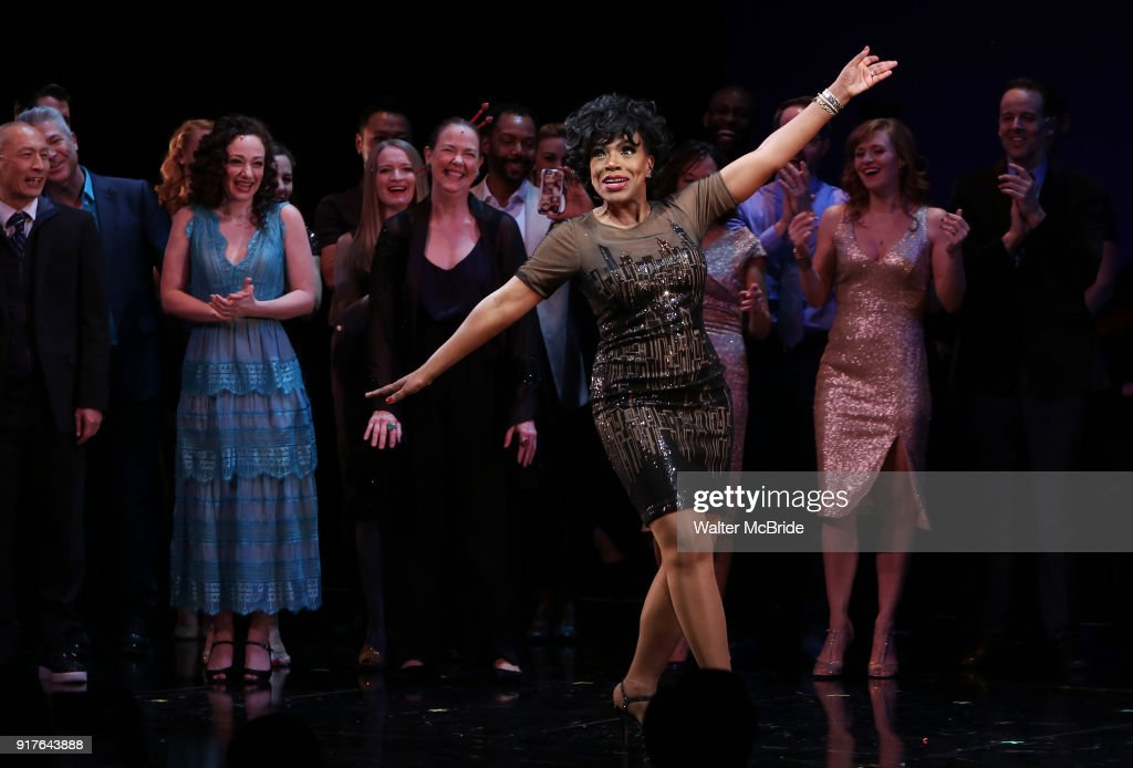 Sheryl Lee Ralph with cast during the curtain call bows for the Actors Fund's 15th Anniversary Reunion Concert of 'Thoroughly Modern Millie' on February 18, 2018 at the Minskoff Theatre in New York City.