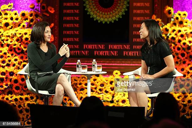 Sheryl Sandberg and Priscilla Chan speak onstage at the Fortune Most Powerful Women Summit 2016 at RitzCarlton Laguna Niguel on October 18 2016 in...