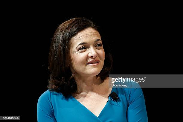 Sheryl Sandberg billionaire and chief operating officer of Facebook Inc speaks at the Cannes Lions International Festival Of Creativity in Cannes...