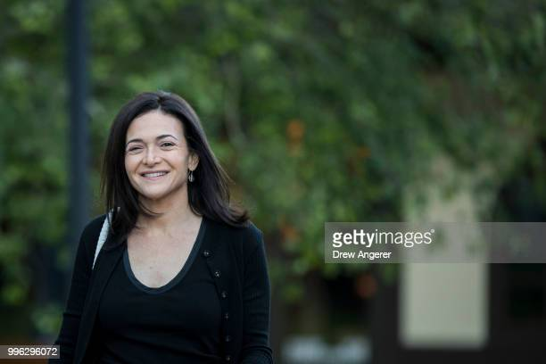 Sheryl Sandberg chief operating officer of Facebook arrives for a morning session of the annual Allen Company Sun Valley Conference July 11 2018 in...