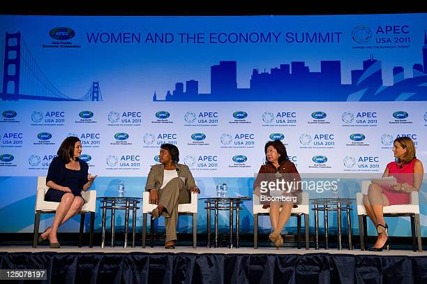 Sheryl Sandberg chief operating officer of Facebook Inc from left Danielle Gray deputy director of the National Economic Council Mari Pangestu...