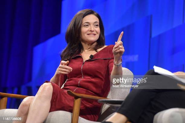 Sheryl Sandberg COO of Facebook speaks onstage during 'Putting a Best Facebook Forward' at Vanity Fair's 6th Annual New Establishment Summit at...